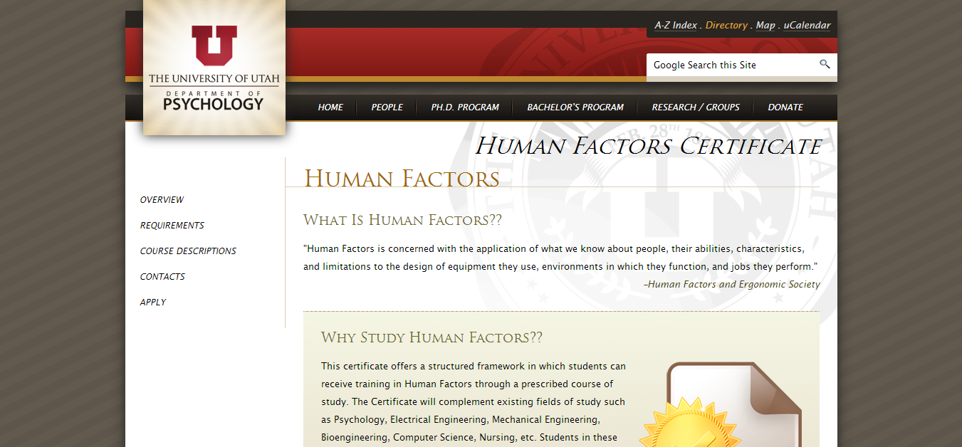 Top 50 human centered design and engineering degrees pannam focusing on how people interact with their environments and equipment the human factors certificate from the university of utah helps students comprehend xflitez Choice Image