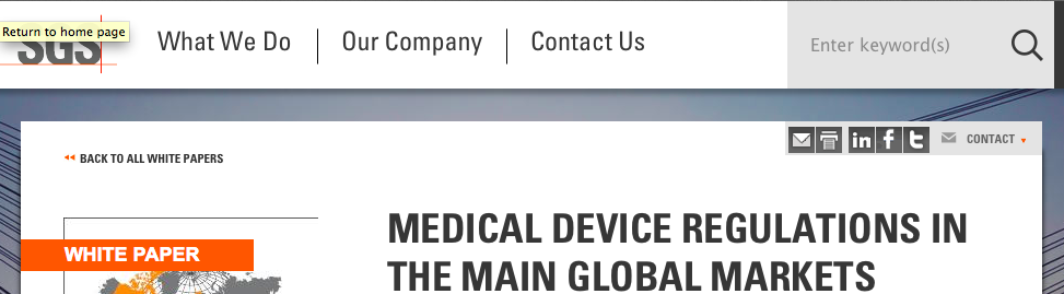 Medical Device Regulations in the Main Global Markets