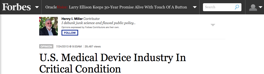 U.S. Medical Device Industry In Critical Condition (Forbes)