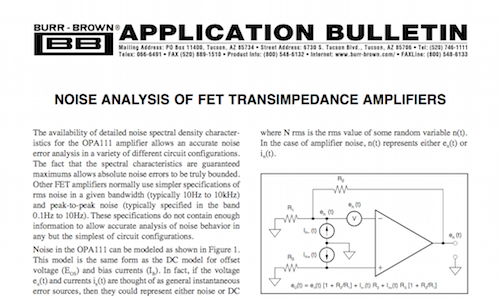 Noise Analysis of FET Transimpedance Amplifiers