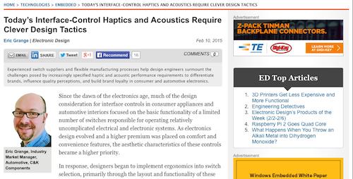 Today's Interface-Control Haptics and Acoustics Require Clever Design Tactics