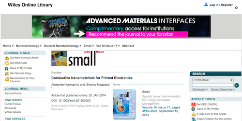 Conductive Nanomaterials for Printed Electronics