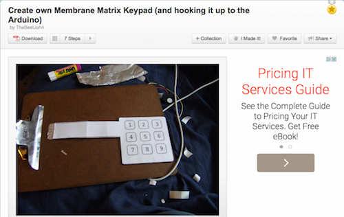 Create own Membrane Matrix Keypad (and hooking it up to the Arduino)