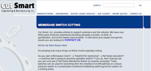 Membrane Switch Cutting