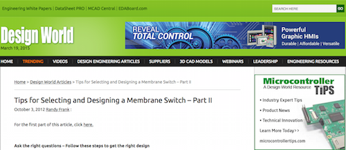 Tips for Selecting and Designing a Membrane Switch - Part II
