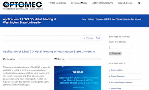 Application of LENS 3D Metal Printing at Washington State University