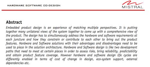 Hardware Software Co-Design
