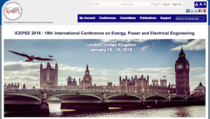 ICEPEE 2016 18th International Conference on Energy Power and Electrical Engineering