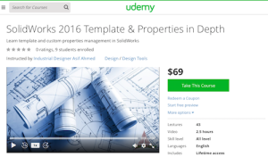 SolidWorks 2016 Template and Properties in Depth