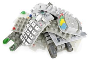 Heap of rubber keypads