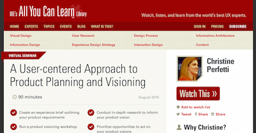 A UserCentered Approach to Product Planning and Visioning