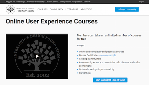 Interaction Design Foundation Online User Experience Courses