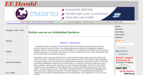 Online Course on Embedded Systems