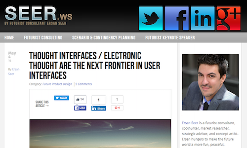 Thought Interfaces Electronic Thought are the Next Frontier in User Interfaces
